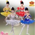 Дети Желтый Белый Лебедь танцы Костюм Дети Балет Танцевальная Одежда Сценический Костюм Профессиональная Балетная Пачка Платье Для Девочки