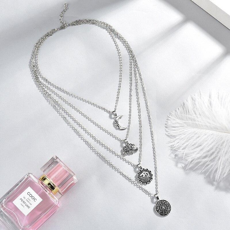 Boho Jewelry Multi Couche Perles Tour de cou colliers Pour Femmes Moon Pendentif Cadeaux