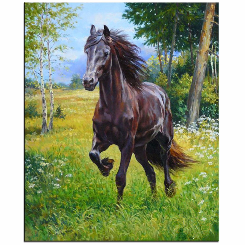 Needlework Full Drill Diamond Embroidery Horses Running Cross Stitch Diy Diamond Mosaic Animals Crystal Rubik's Cube Rhinestones
