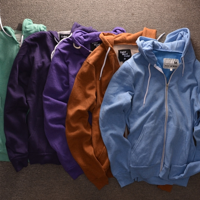 Men's High Quality Solid Colour Zip up Hoodies Original British ...