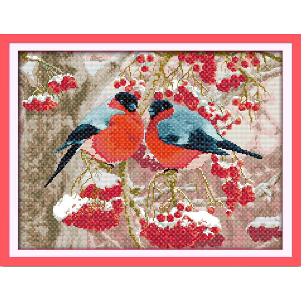 Everlasting love Christmas Bullfinch Chinese cross stitch kits Ecological cotton stamped 11CT and 14CT New store sales promotion in Package from Home Garden