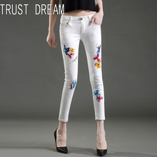 TRUST DREAM European Style Women Sexy Print Women Skinny Jeans Ankle-length Drawing Coloful Butterfly Female Slim Jeans