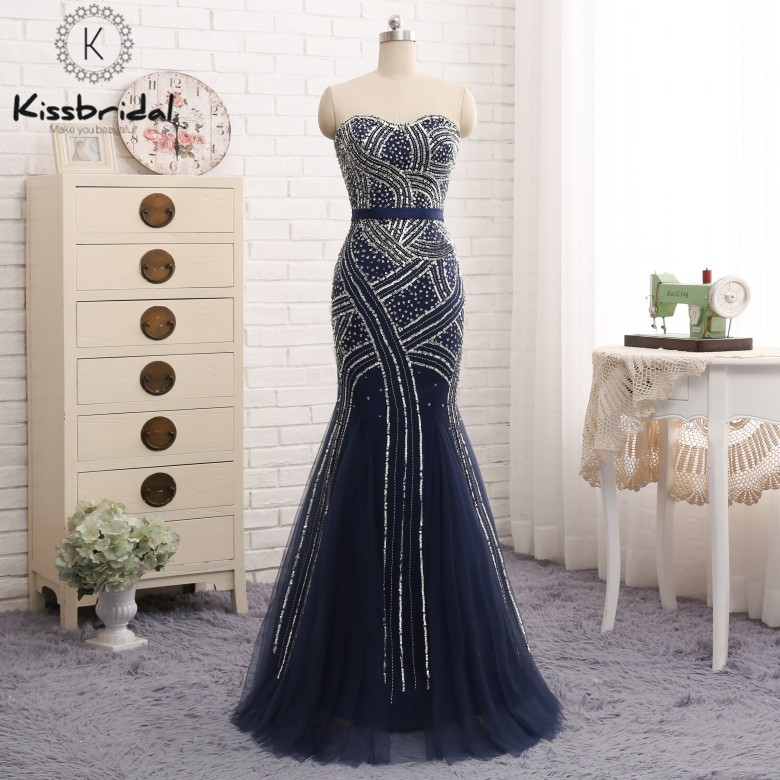 abendkleider 2018 Fashioable   Evening     Dresses   Long Navy Blue Sweetheart Neckline Tulle Beading Party Prom Gown