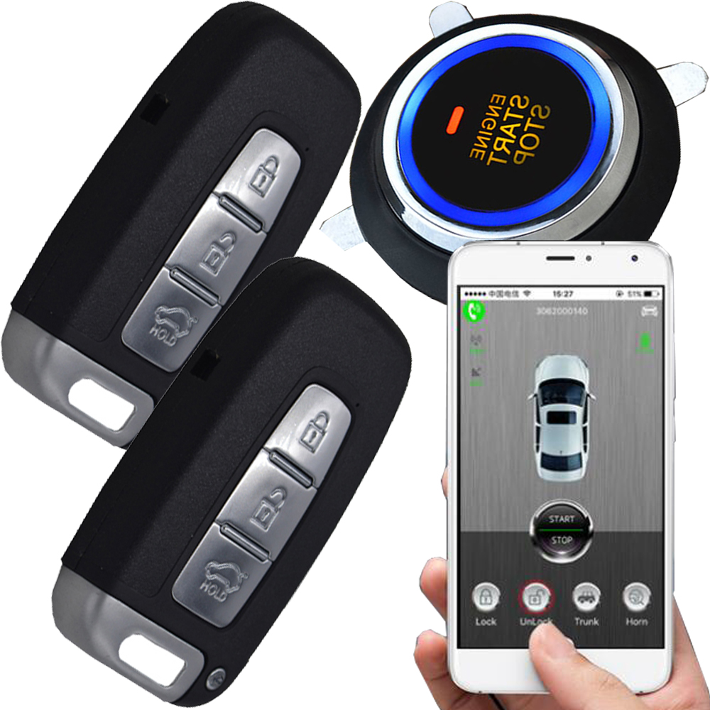remote start stop car engine security alarm system by mobile app suppoting remote upgrade software function gps online tracking