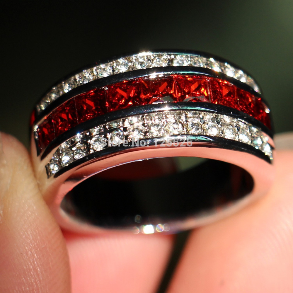 Size 8 9 10 11 12 13 Fashion Jewelry Princess Red White 5a Cubic Zirconia Birthstones Crystal Wedding Engagement Men Ring Gift In Rings From