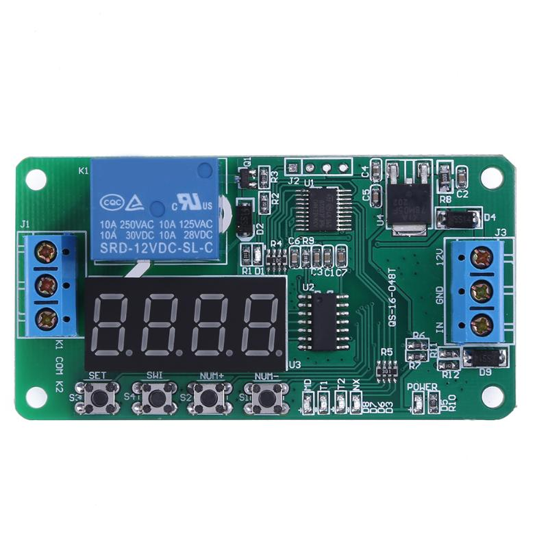 12V DC Converter Multifunction Self-lock Relay PLC Cycle Delay Time Timer Switch Module PLC Home Automation Delay Time Swich led digital display circle delay time relay module time adjustable blue 12v