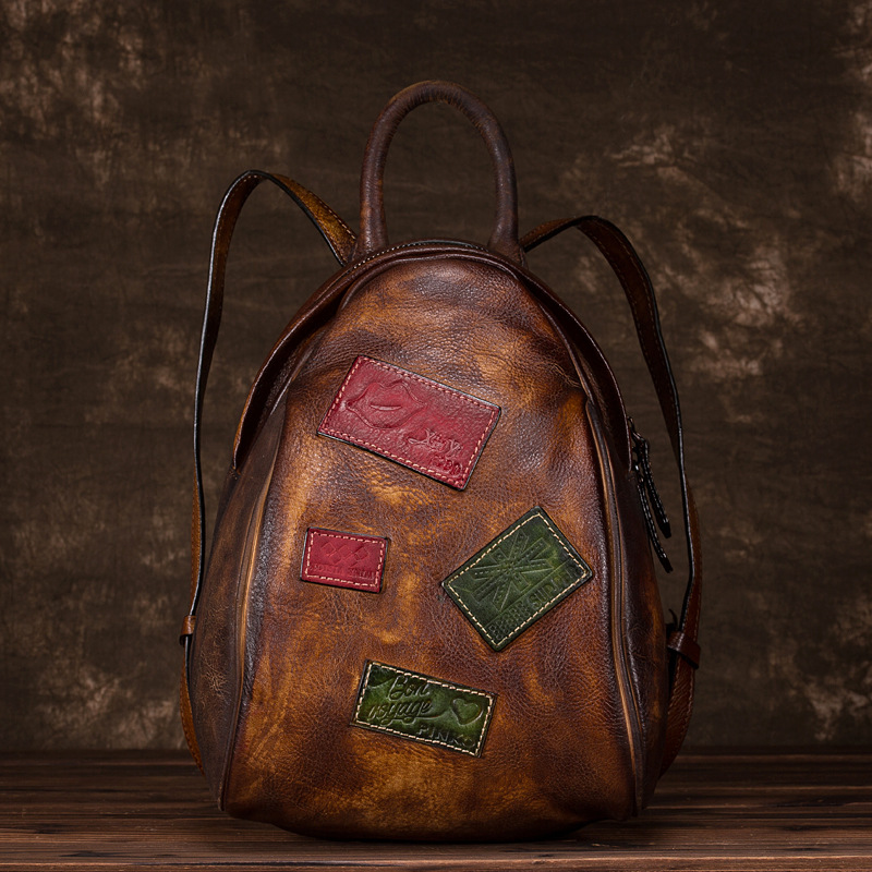 Women Backpack Genuine Leather Brush Color Small Geometry Patchwork Travel Bag Real Cowhide Vintage Daypack Rucksack