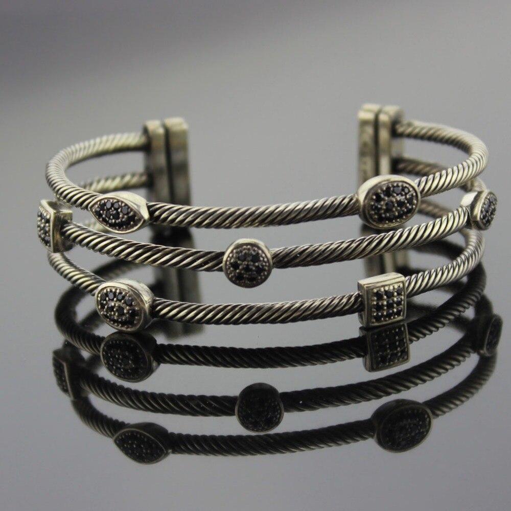 Sterling Silver Jewelry Three Row Bracelet Black White Diamond Bracelet Design Jewelry Women Bracelet Fine Bracelet