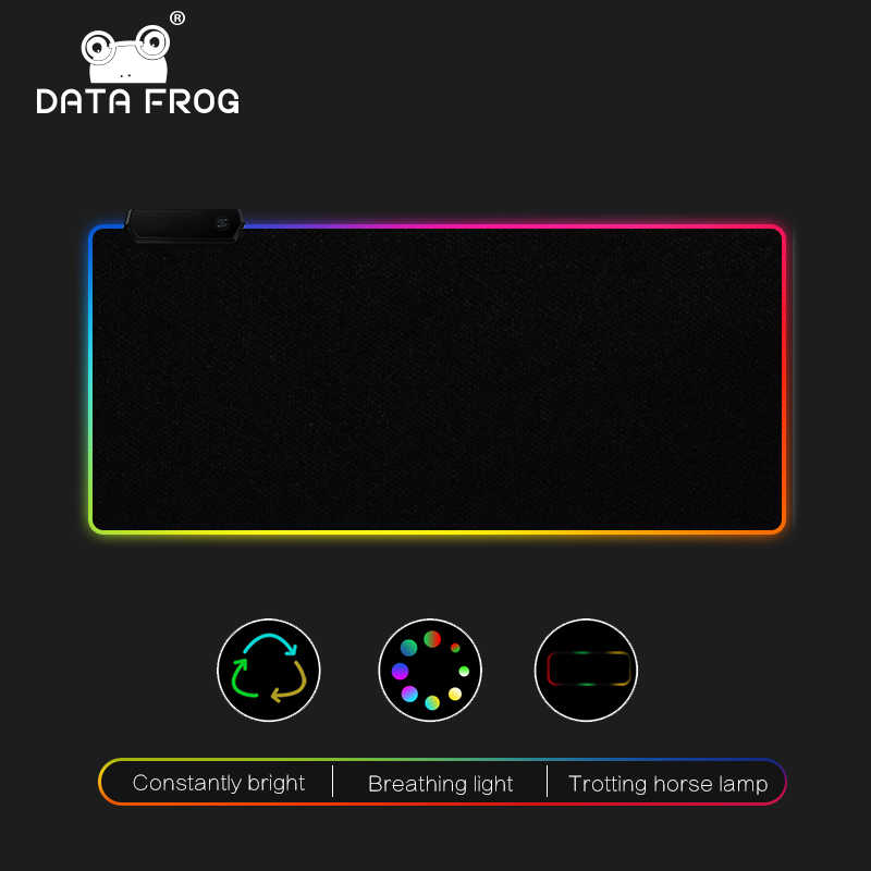 DATA FROG LED RGB tapis de souris grand tapis de souris USB filaire éclairage Gaming tapis de souris antidérapant 7 Options de couleur pour PC ordinateur portable