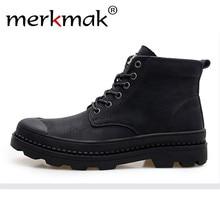 Merkmak New 2018 Men Martin Boots British Style Autumn & Winter Ankle Boots Vintage Casual Shoes Men's Footwear Black Size 47 46