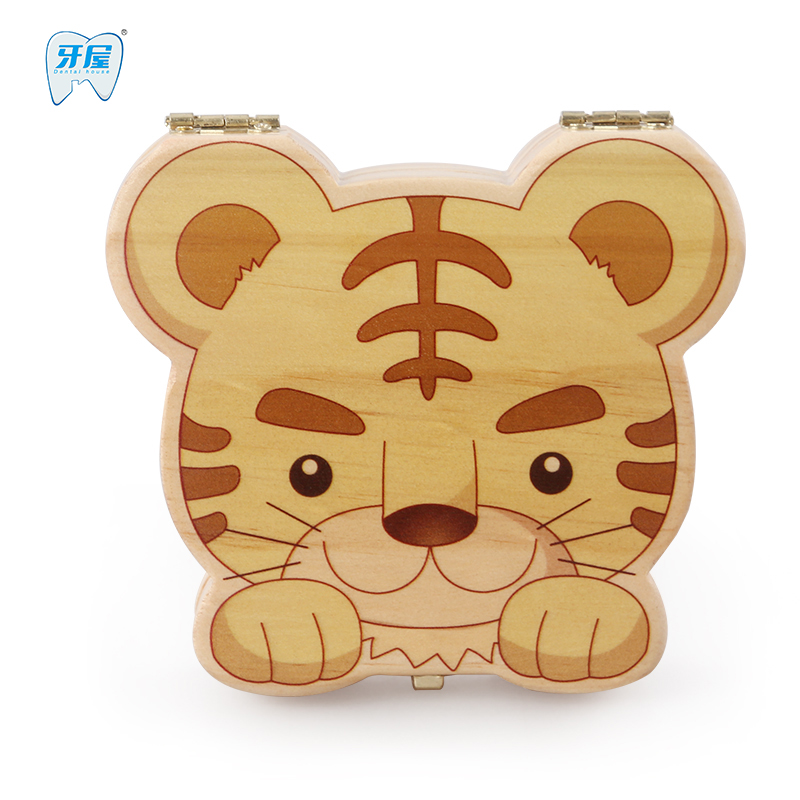 Baby Teeth Box Organizer For Baby Save Milk Teeth Wood Storage Box Tiger Image Great Gifts 3-6 YEARS Creative For Kids