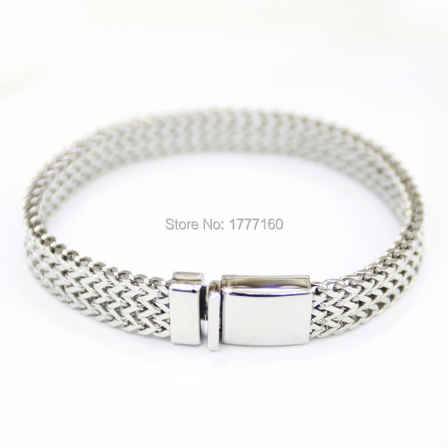 Customize Size 9mm Fashion Men Silver Bracelets Stainless Steel Bracelet With Cross Design Jewelry