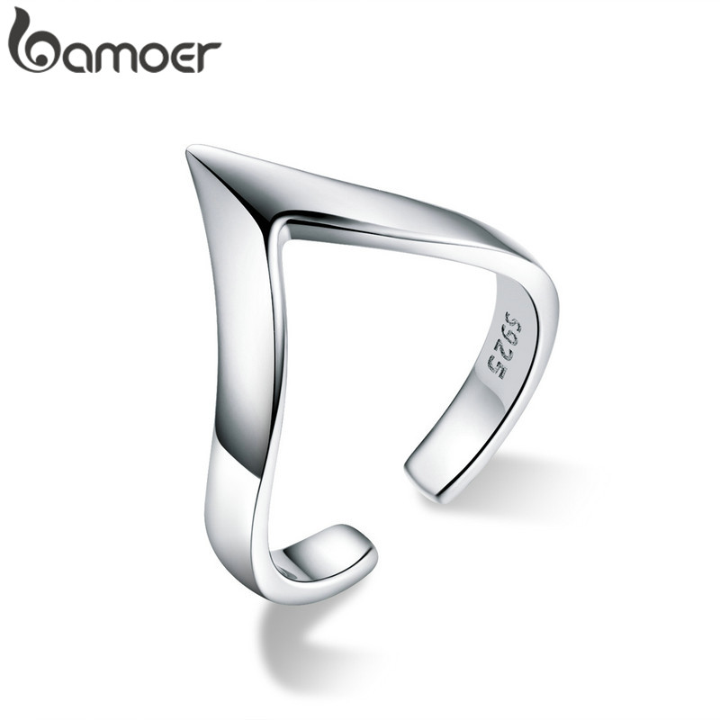 BAMOER V-shape Punk Open Adjustable Finger Rings For Women 925 Sterling Silver Metal Unisex Women And Men Accessories GXR470