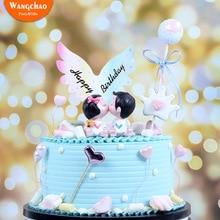 Крылья Ангела Топпер для торта с днем рождения бумаги крылья украшения торта мальчик девочка ребенок душ вечерние украшения топперы для кексов