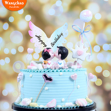 Angel Wings Cake Topper Happy Birthday Paper Decorations Boy Girl Baby Shower Party Decora Cupcake Toppers