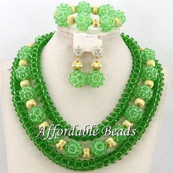 Free Shipping African Beaded Jewelry Popular Wedding Jewelry Set New Handmade Wholesale BN384
