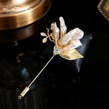 GLSEEVO, натуральная пресноводная брошь в стиле барокко с жемчугом для женщин, вечерние, красивые броши, брошь Du Lux Femme Bijoux, ювелирное изделие GO0333