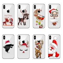 Merry Christmas New Year elk snowman for Cover iPhone  6 8 7 Plus XR X 5S SE Fundas XS Max Case TPU