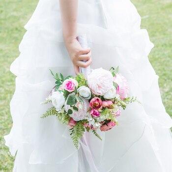 искусственные белые розы | JaneVini элегантный пион Белый Розовый свадебные букеты для невест искусственные розы свадебные цветы искусственный букет зеленый лист Рамо ...