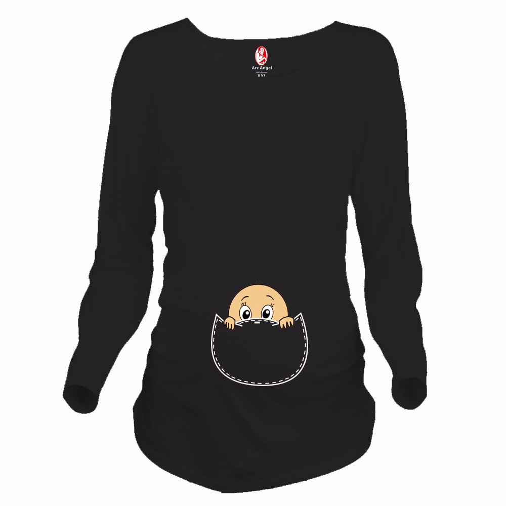 Design t shirt baby - Funny Design Maternity Shirt Baby Peeking Out Printed Maternity Clothing For Pregnant Women Plus