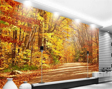 beibehang Golden autumn forest in the track high-definition TV backdrop for home decoration wallpaper papel de parede wall paper beibehang pvc wallpaper glitter wall paper roll shine wall covering for home decoration for ktv papel de parede listrado