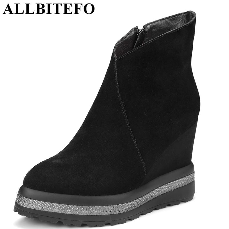 цена ALLBITEFO size:34-42 genuine leather wedges heel platform women boots brand high heels ankle boots winter girls motorcycle boots