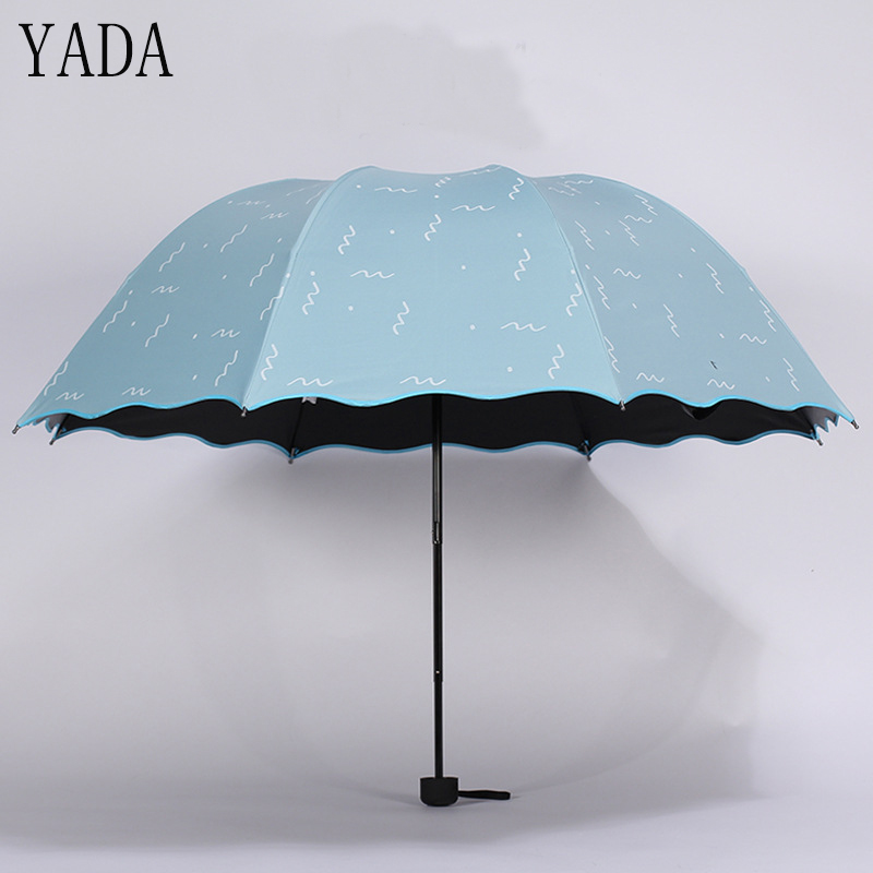 YADA Design Cartoon Wave Pattern Folding Rainy Umbrella For Women Men Kids Anti-UV Gift Lovely Lace Princess Cute YD025