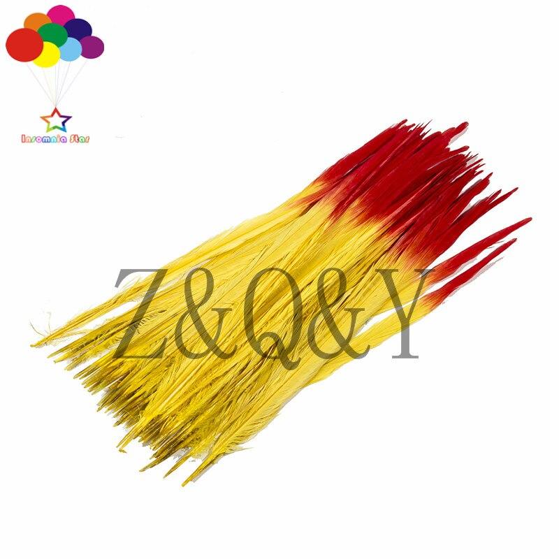 50 pièces haut 40-45 CM (16-18 pouces) couleur de queue de faisan (jaune et rouge) accessoires de vêtements, bandeau de théâtre