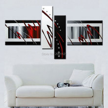 4 piece modern abstract red white black oil painting hand painted modular wall for living room group canvas picture