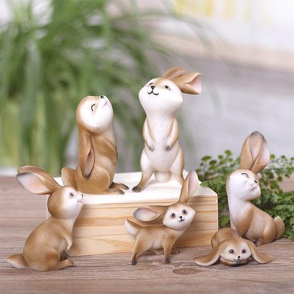 Rabbit Figurine Statues Fairy Garden Ornaments Miniatures Fairy ...
