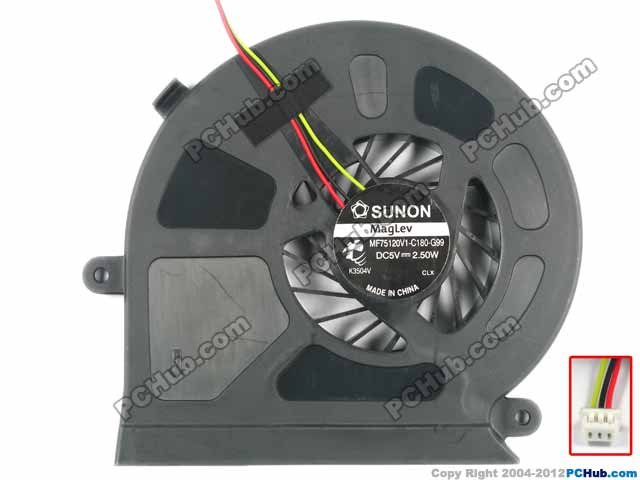 SUNON MF75120V1-C180-G99 Server Cooling Fan DC 5V 2.50W 3-wire free shipping for sunon gb1207ptv2 a 13 b4396 f gn dc 12v 2 2w 3 wire 3 pin connector 70mm 70x70x25mm server square cooling fan