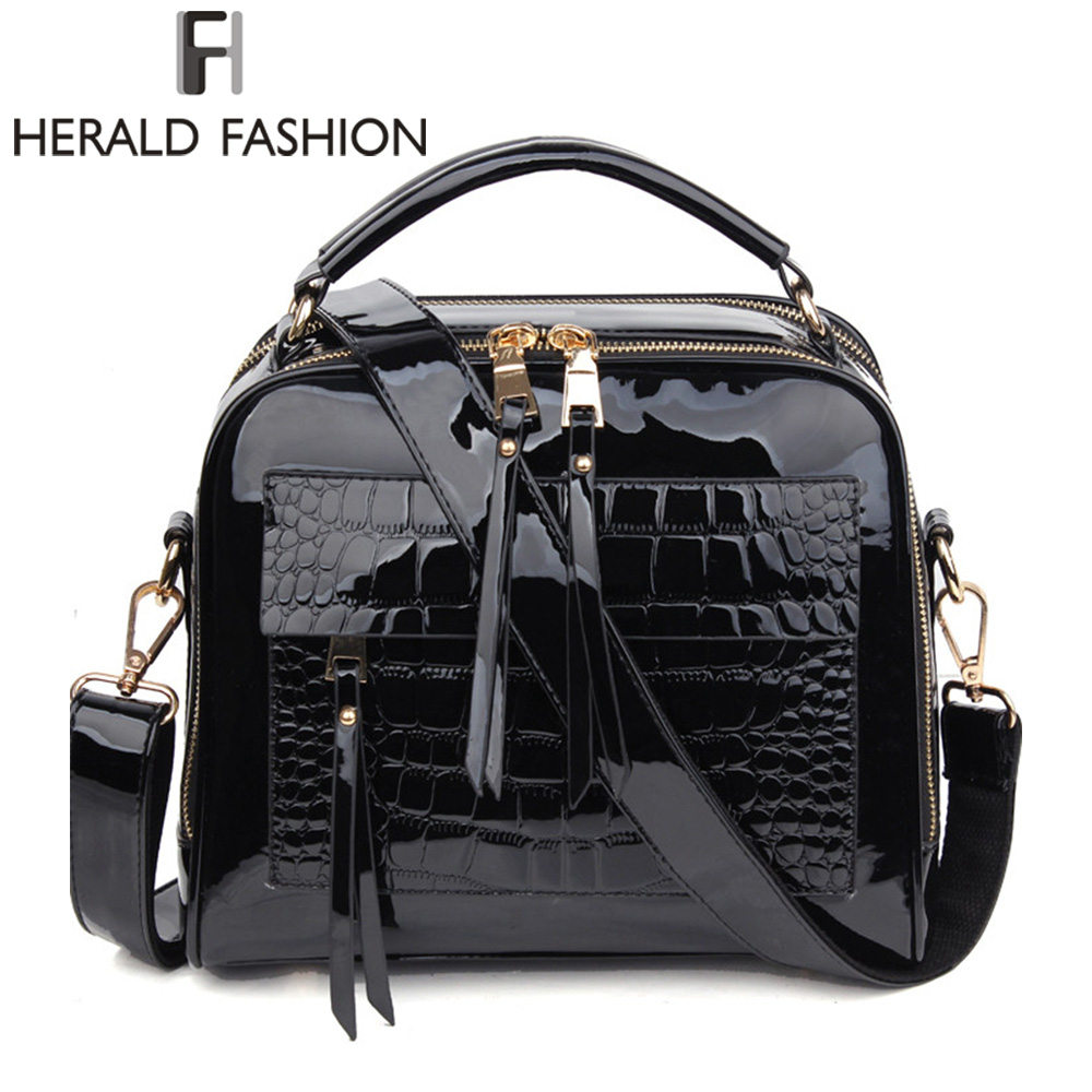 Herald Fashion Women Patent Leather Handbags Crocodile Design Shopper Tote Bag Female Luxurious Shoulder Bags stylish women s tote bag with clip closure and crocodile print design
