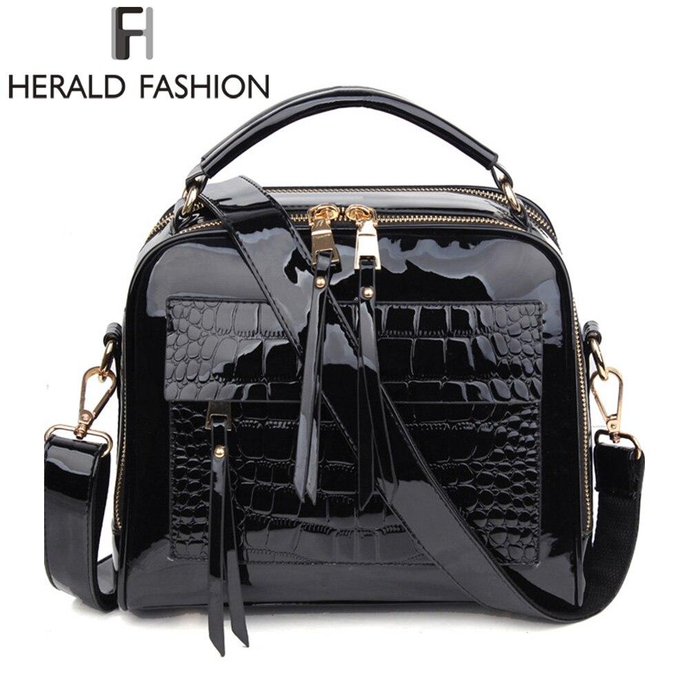 Herald moda mujeres charol mano Bolsas diseño del cocodrilo shopper Tote bag mujer lujosa Bolsos de hombro
