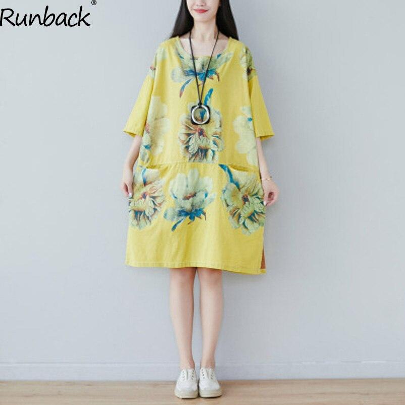 Runback Floral Maxi robes femme demi manches coton vert une ligne grande taille o-cou Jurken robe d'été dames 2019 robe jaune