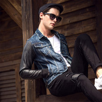 2017 Spring New Style Leather Sleeve Jeans Jacket Men Fashion PU Patchwork Denim Jackets Slim Fit Brand Clothing A1585