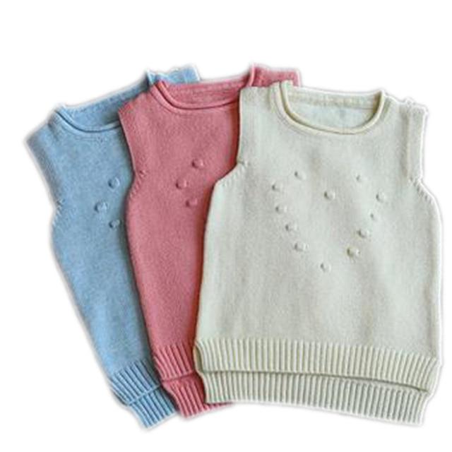 Girls Sweater 2016 New Autumn Sleeveless Soild Jacquard Knitted Vest Pullover Korean Children Clothing Toddler Girls Sweaters