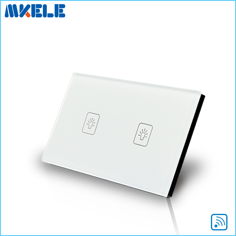 Touch Wall Switch US Standard 2 Gang 1 Way RF Remote Control Light White Crystal Glass Panel Switches Electrical us standard golden 1 gang touch switch screen wireless remote control wall light touch switch control with crystal glass panel