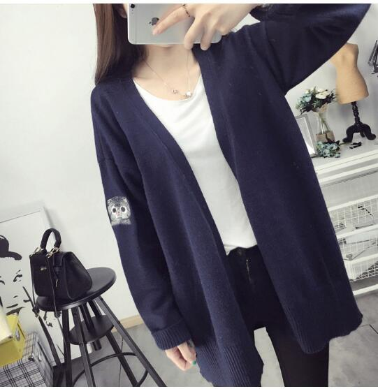 2018 Fashion Autumn Cartoon Cat Embroidery Knitted Cardigan Women Long Sleeve Oversized Sweaters Casual Thin Coats Outwear