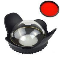 Meikon 67 мм рыбий глаз широкоугольный объектив купол порт тенты Крышка для корпуса камеры с красным фильтром для подарка