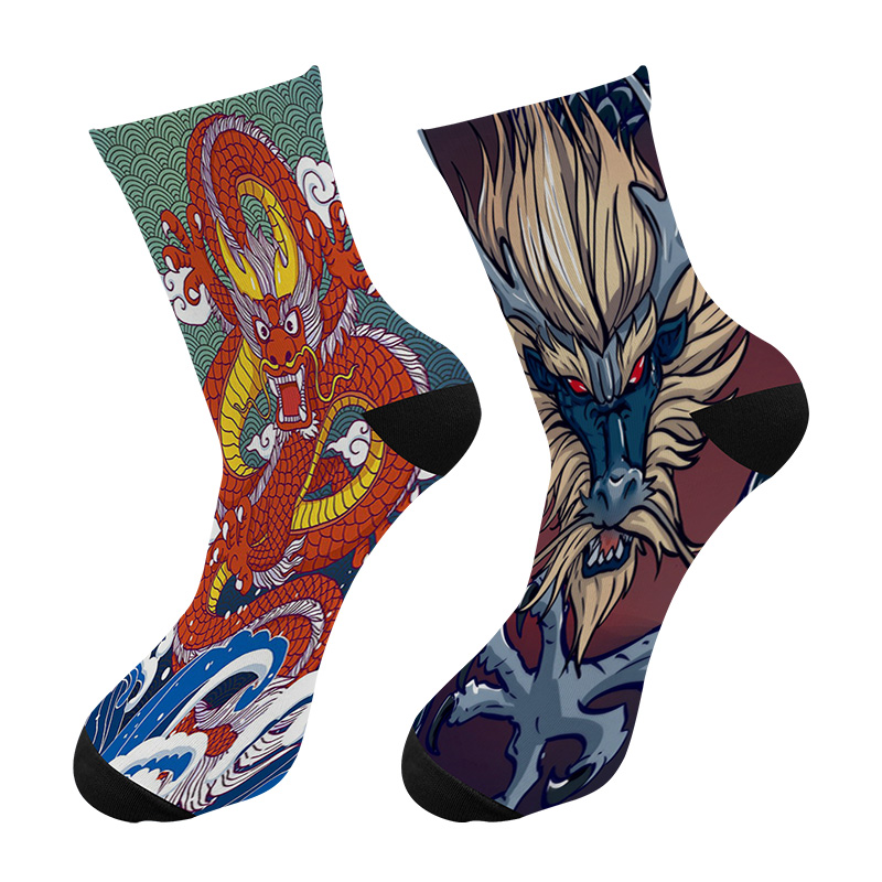 New 3D Printed Chinese Dragon Graffiti Painting Crew Socks Men Funny Happy Japanese Ukiyo-e Long Socks Men's Dress Tube Socks