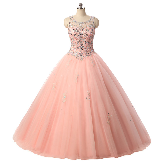 329bfd7385a0 2019 Beading Quinceanera Dresses Ball Gown Princess Puffy Ruffle Pink Tulle  Masquerade Sweet 16 Dresses Prom