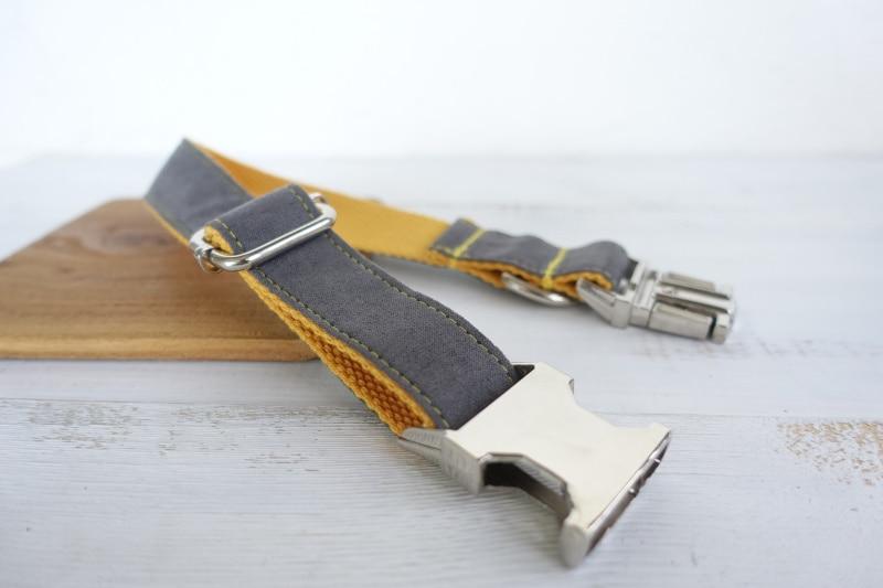 50pcs/lot MUTTCO wholesale self-design color matching soft dog collar GRAY COVER YELLOW handmade burly nylon dog collars UDC026