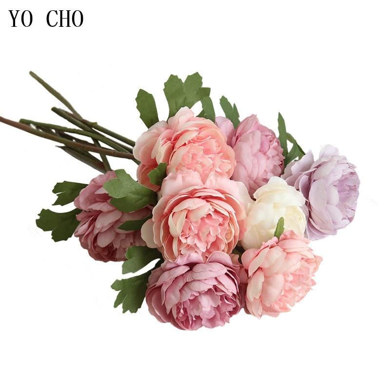 YO CHO Fatti A Mano Da Sposa Bouquet di Nozze Centrotavola Artificiale Decorazione di Cerimonia Nuziale Fiori Rose FAI DA TE Damigella D'onore di Cerimonia Nuziale Del Partito Accessorio