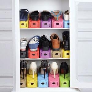 Image 5 - 2 pièces Durable réglable organisateur de chaussures chaussures Support fente gain de place armoire placard Stand chaussures stockage Rack boîte à chaussures