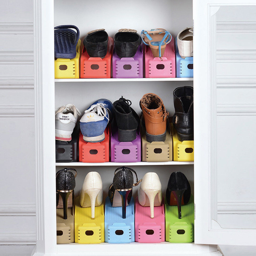 Image 5 - 2pcs Durable Adjustable Shoe Organizer Footwear Support Slot Space Saving Cabinet Closet Stand Shoes Storage Rack Shoebox-in Shoe Racks & Organizers from Home & Garden