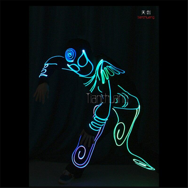 TC-177 Programmable Mens robot led costumes dance dj clothes full color light disco el wears stage show projector luminous suit