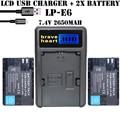 2x LP-E6N LPE6N E6N LP-E6 LPE6 LP E6 Batería de La Cámara digital pack para canon 5d mark ii iii eos 6d 7d 60d, para canon accesorios