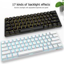 RK61 Drahtlose Bluetooth Mechanische Gaming Tastaturen Dünne 61 Tasten RGB Einzelne LED Backlit Multi Gerät Grün Schalter Tastatur