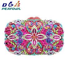 купить DG PEAFOWL Luxury Fashion Diamond Women Evening Clutches Handbag Colorful Crystal Flower Purses 2019 Chain Party Wallet Bags недорого