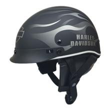 Harley Половина лица Мотоциклетный Шлем старинные ретро скутер шлем Cruiser Старинные Открытым Лицом Шлемы С Ветрозащитный Воротник